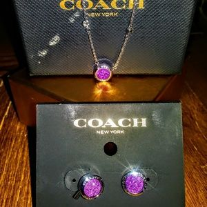 "NWT Coach purple matching earrings and 18""necklace"